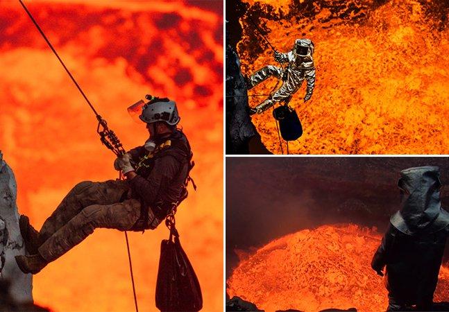 Conheça o rapel realizado dentro de um vulcão