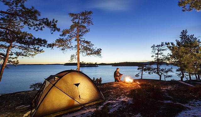 Bom jantar durante um acampamento