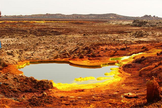 Depressão de Danakil e seu horizonte de outro planeta